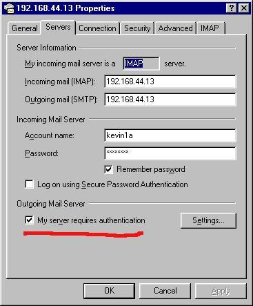 IMAP configuration in Windows